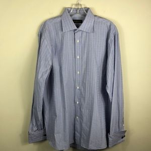 Canali Blue Plaid French Cuff Dress Shirt 16.5 42